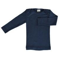 Wolle Seide atmungsaktives Unterhemd oder Shirt blau