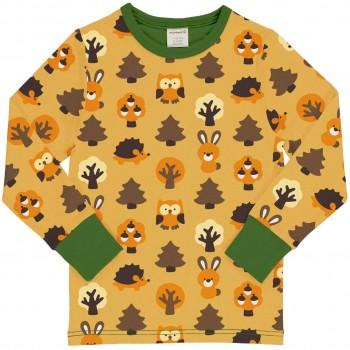 Wald Tiere Shirt langarm Bündchen in gelb