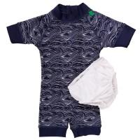Badeanzug Baby Wellenmuster navy