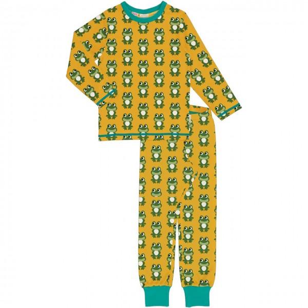 Schlafanzug Frösche langarm gelb