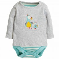 Frugi 2in1 Body mit Langarmshirt in grau Dodos