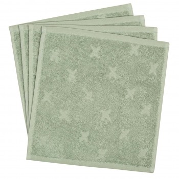 Frottee Waschlappen 4er-Pack in hellgrün