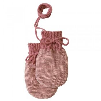 Schurwolle Baby rosa Strickhandschuhe