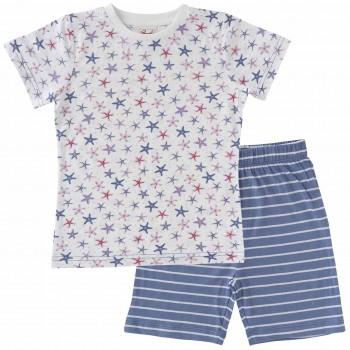Schlafanzug leicht mit Shorts und Shirt Seestern