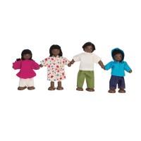 Puppen für Puppenhaus zum Biegen Familie schwarz