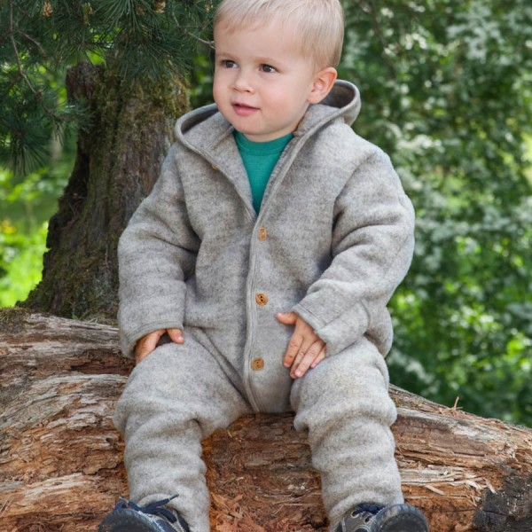 Woll Fleece Overall mitwachsend grau