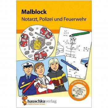 Malblock für Kinder ab 3 Jahre Polizei & Feuerwehr
