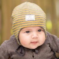 Leichte Babymütze Streifen Wolle-Seide senf-grau