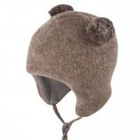 Braune Bommel Wintermütze Fleece Baumwolle