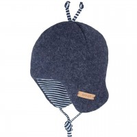 Baby Wintermütze beliebter Klassiker jeans-blau