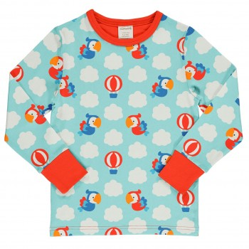 Papageien Shirt langarm hellblau rot