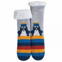 Warme Plüschsocken Pinguin in blau-grau