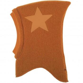 Woll Schlüpfmütze Sternen-Aufnäher karamell
