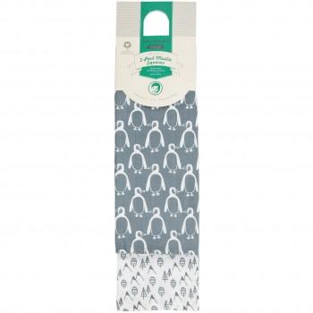 Mulltücher Doppelpack Pinguin 80 x 80 blau