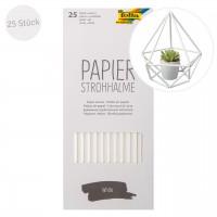 Papier Strohhalm 25 Stück lebensmittelecht weiss