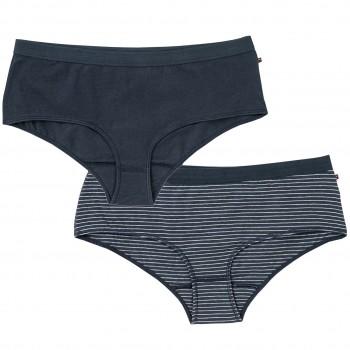 Doppelpack Damenpanty dunkelblau Ringel/uni