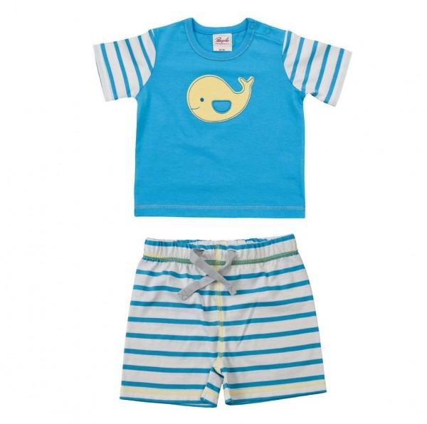 Leichtes Baby Shirt mit Druckknöpfen + Short blau