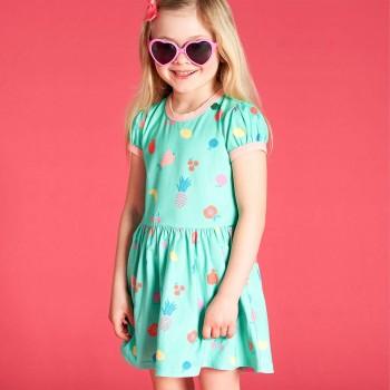 Sommerliches Kleid Puffarm Früchte aqua