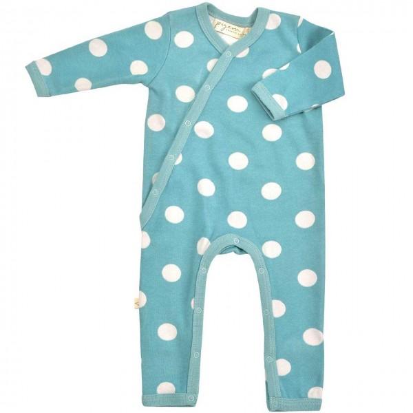 Baby Strampler mit Fußumschlag - Punkte blau-grau