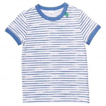 Shirt kurzarm Streifen-Muster blau
