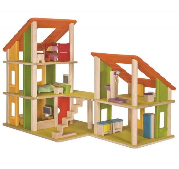 Ökologisches, Flexibles Puppenhaus, komplett möbliert