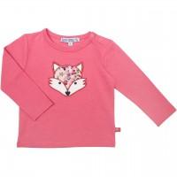 Langarmshirt Aufnäher Fuchs in pink