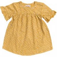Slub Baby Kleid kurzarm senfgelb