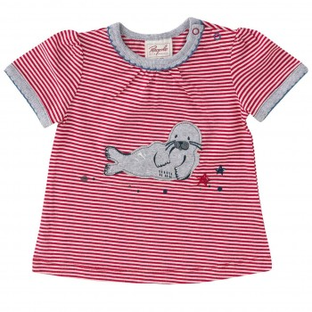 T-Shirt Mädchen mit Robben Aufnäher rot