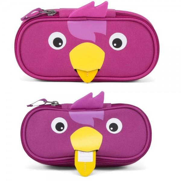 Stiftemäppchen mit Ziehzunge Vogel pink 21 x 11 cm