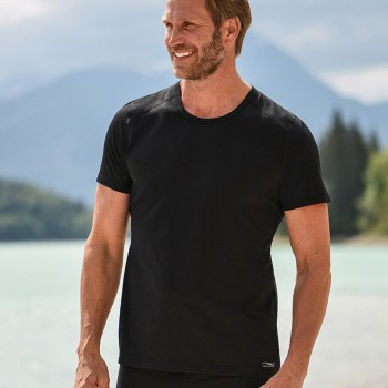 Wolle Seide Herren T-Shirt Regular Fit schwarz