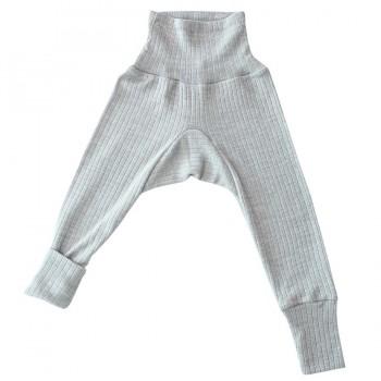 Baumwolle Wolle Seide Leggings grau meliert