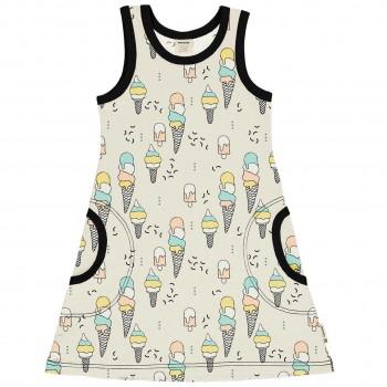 Sommerliches Kleid ohne Arm Eiscreme in hellgelb