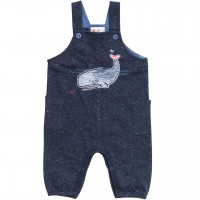 Sweat Latzhose Wal dunkelblau melange