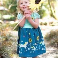 Kleid kurzarm Einhörner blau