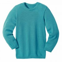 Wolle Basic Pullover in türkis