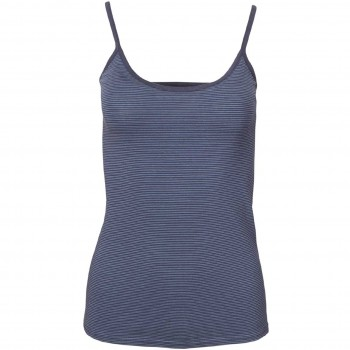 Damen Trägerhemd dunkelblau geringelt