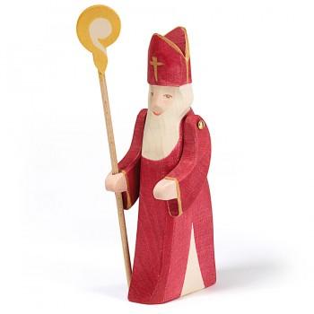 Nikolaus Figur mit Stab Holzfigur 17,5 cm