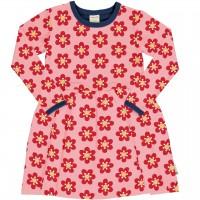 Flatter Kleid langarm elastisch Anemonen in rosa