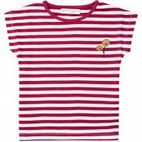 T-Shirt Streifen Blätter Stickerei in pink