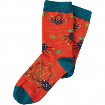 Socken Spinnen orange
