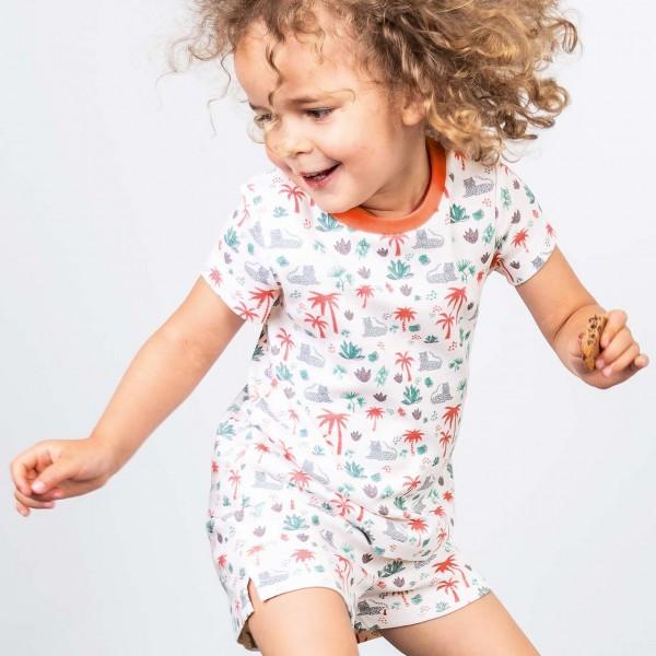 Sommer Kinder Schlafanzug kurz Leoparden