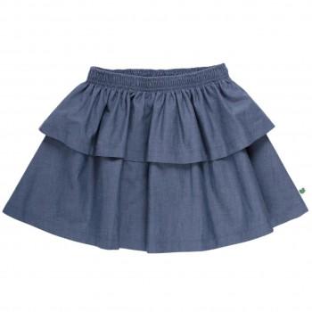 Mädchen Flatterrock Leinen-Jeansoptik
