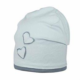 Süsse Mädchen Beanie pastellblau grau mit Herz