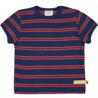 Leichtes Leinen Shirt kurzarm Streifen dunkelblau