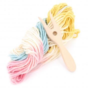 Strickgabel mit Bio-Wolle - Pastell