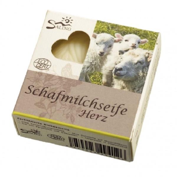 Herz-Schafsmilchseife EcoCert z.B. für unsere Waschlappen