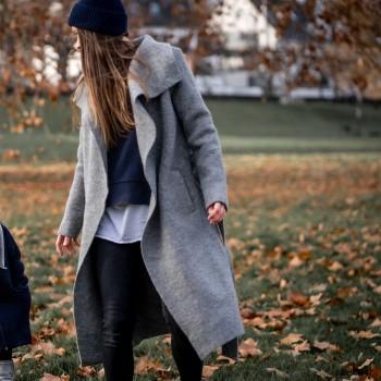 Warmer Damen Walk Mantel grau