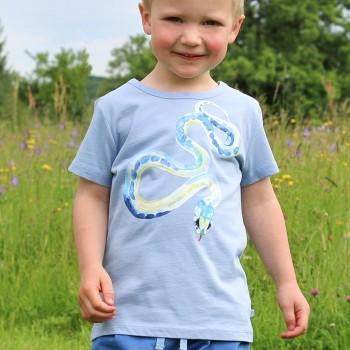 Edles T-Shirt Schlangen-Druck in hellblau