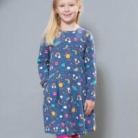 Regenbogen Skater Kleid langarm blau