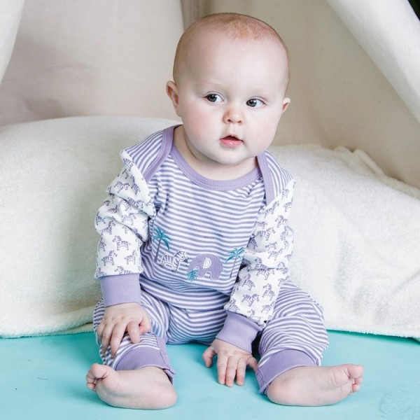 Bio Babystrampler langarm - Fairtrade & GOTS - lila